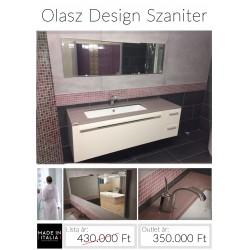 Impozáns design függesztett  üveglapos mosdószett