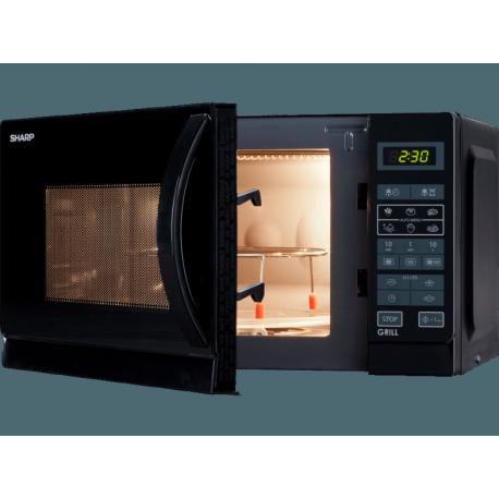 SHARP R642BKW Grilles mikrohullámú sütő, 20 liter, 800 Watt, 1000 W grill teljesítmény